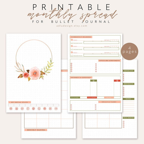 monthly log printable bullet journal insert monthly etsy