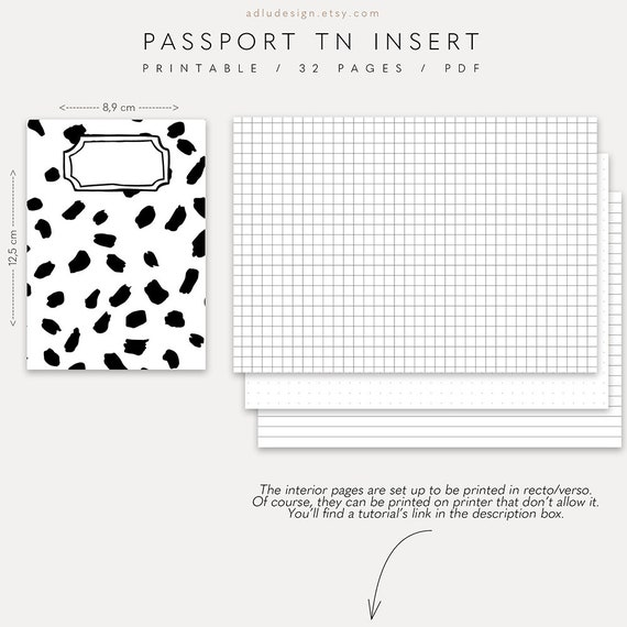graphic regarding Passport Printable titled Brushed Pport TN Increase, Printable Tourists Laptop computer, Dots Grid Included Add, 4 Handles and 32 Webpages inside Black and White