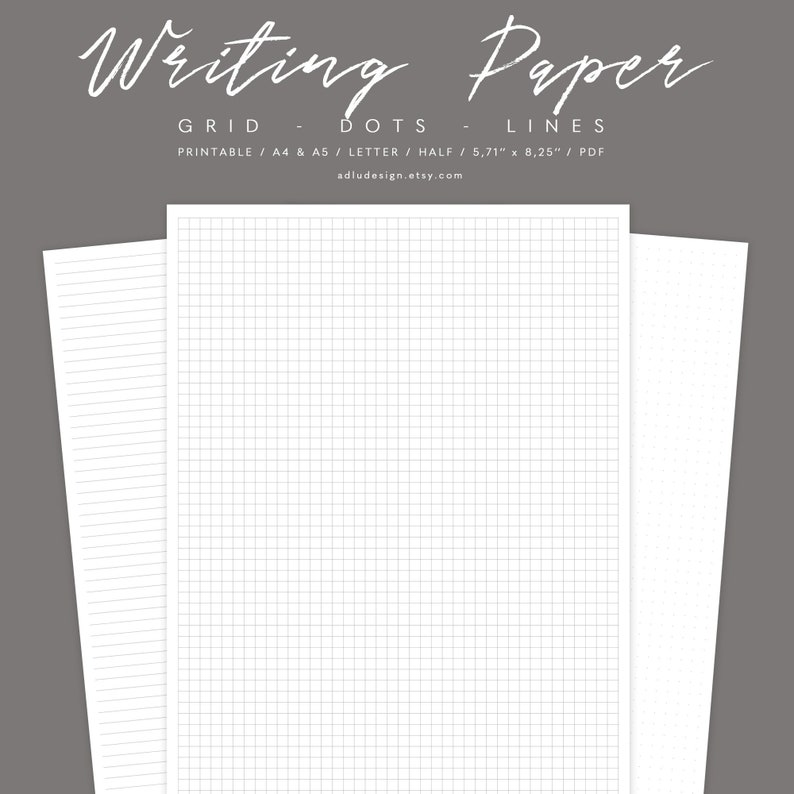 Writing Paper Set Printable, Dots Grid & Lines Paper, Study Notes, Letter,  A4, A5, Half Letter and for Bullet Journal, PDF