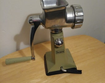 Vintage Sears Suction Cup Tabletop Meat Grinder Avocado Green 1970's