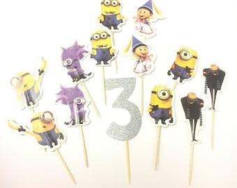 13 Pcs, Minion Cupcake Toppers, Minion Birthday Party, Minion Decoration, Minion Cake, Minion Food Picks, Custom Minion Birthday Party