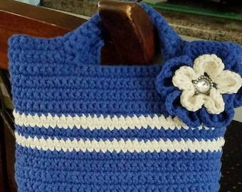 "Small handmade blue and white crochet handbag 100% cotton yarn. 6.5"" H X 9.5"" L X 3"" D"