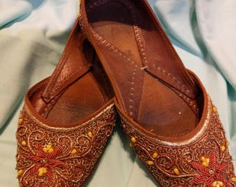 SOLD OUT Beaded Leather Ballet Flats US size 6           Vintage Gorgeous Slippers    ~Art to Wear