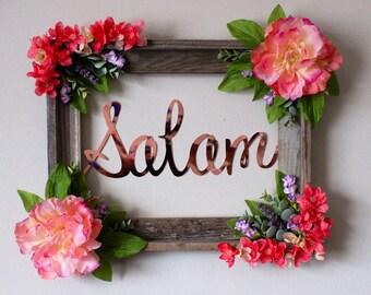 Floral barnwood frame