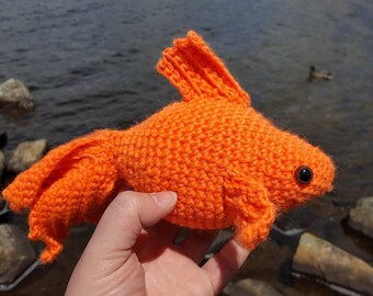 Stuffed handmade goldfish toy, rainbow fish, unique gift idea, amigirumi