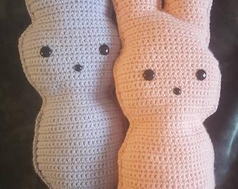 Handmade crochet marshmallow peep, stuffed bunny, Easter bunny