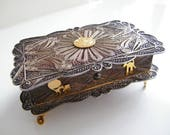 Vintage Sterling Silver Filigree Jewelry Trinket Box, Hinged Lid from Peru, Large Size, Gold Plate Figures, Personalized