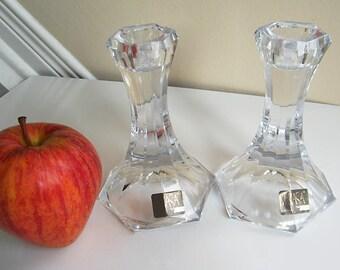 Vintage Mikasa Candle Holders, Mikasa Art Deco Style Crystal Candle Sticks, Crystal Candle Holders Pair