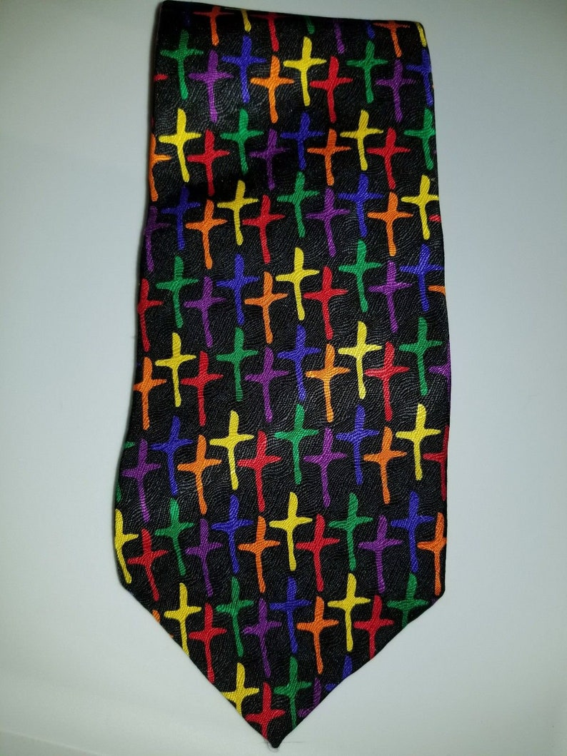 5f59bce4f8bd Ralph Marlin Multi colored crosses necktie silk tie | Etsy