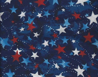 Patriotic Cotton Fabric - Red White and Blue - 2 yards - Free Shipping - Made in the USA