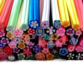 Mixed 50 flowers REF631 fimo canes
