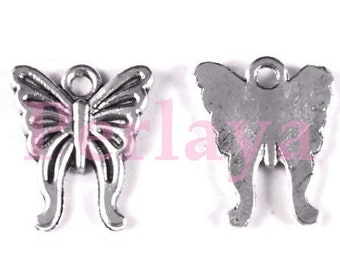 Set of 15 silver Butterfly charms REF1529X3