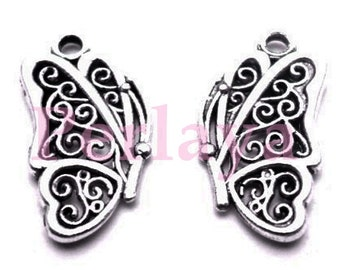 Set of 15 silver Butterfly charms REF1257X3