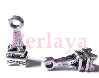 Set of 15 mini REF092X3 silver eiffel tower charms