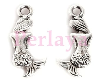 Set of 15 silver metal 2cm REF527X3 Mermaid charms