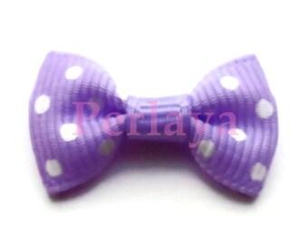 Set of 20 bows appliques purple dot 2.8 cm REF2740