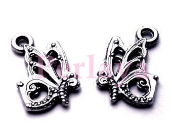 Set of 15 silver Butterfly charms REF1493X3