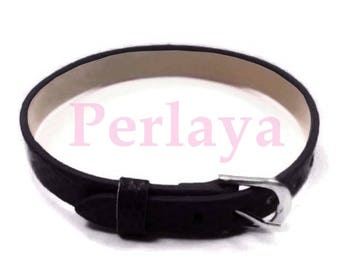 Set of 3 bracelets black faux leather REF539X3