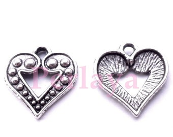 Set of 15 silver sequins charms 17mm REF368X3 hearts