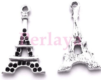 Set of 15 REF714X3 silver eiffel tower charms