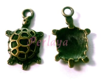 Set of 15 turtles charms bronze 25mm REF556X3