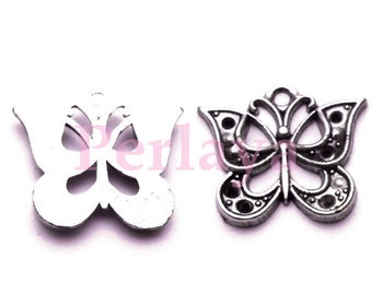 Set of 15 silver Butterfly charms REF799X3
