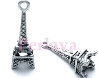 Set of 15 REF004X3 silver eiffel tower charms