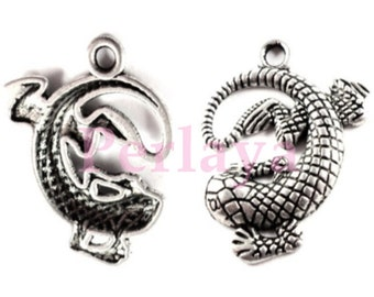 Set of 15 silver 2.4 cm REF256X3 lizard charms