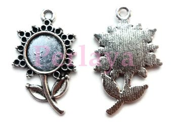 Set of 20 silver round cabochon 10mm flowers REF103 supports