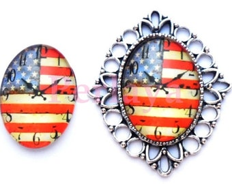 Set of 4 Cabochons glass oval 18x25mm USA REF1699X4 clock