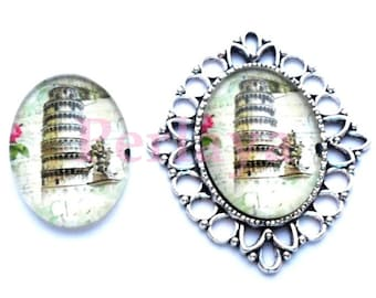 Set of 4 Cabochons glass oval 18x25mm Tower of Pisa REF1619X4