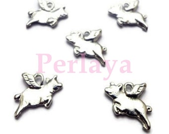 Set of 15 silver flying pigs charms REF169X3