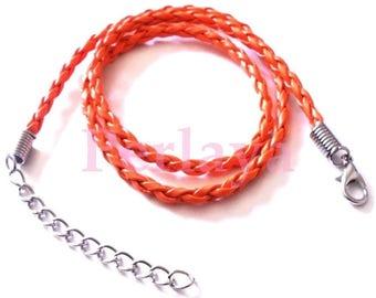 4 orange braided leather REF334X4 neck sizes