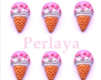 Set of 3 cabochons resin ice cream cone Strawberry 1.8 cm REF2191X3