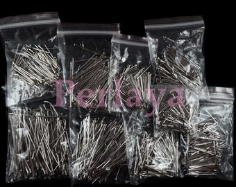 Set of 900 silver wire dark flat heads from 18mm to 45mm REF814