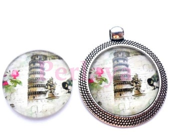 Set of 4 Cabochons glass round 25mm Tower of Pisa REF1682X4
