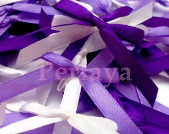 Mix of 50 purple, lilac and white satin bows REF836