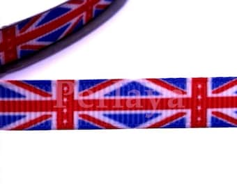 1 meter Ribbon 9mm grosgrain English flag red white blue