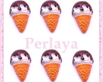 Set of 3 cabochons resin ice cream cone chocolate 1.8 cm REF2083X3