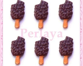 Set of 3 cabochons resin ice Eskimo chocolate REF2125X3 2.2 cm