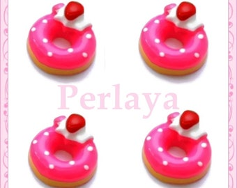 Set of 3 donuts REF1512X3 Strawberry resin cabochons