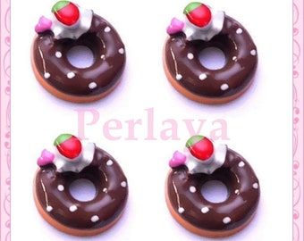 Set of 4 cabochons 18mm REF2099X4 chocolate donuts