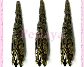 100 bead caps in antique bronze 4cm REF108