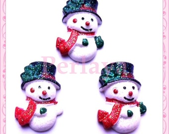 Set of 3 snowman snow 2.5 cm REF2157X3 resin cabochons