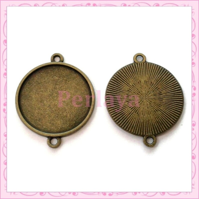 20 25mm connectors with bronze Cabochon support in metal REF1113