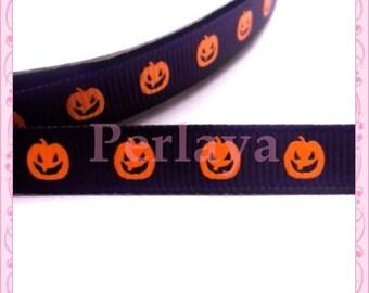 4 meters ribbon 9mm big grain pattern pumpkin halloween black orange