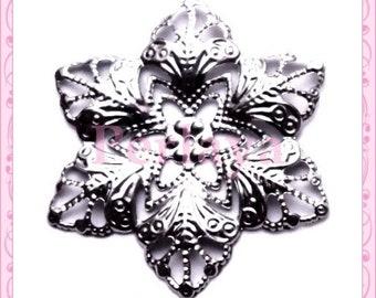 Set of 5 prints filigree silver flowers REF1505