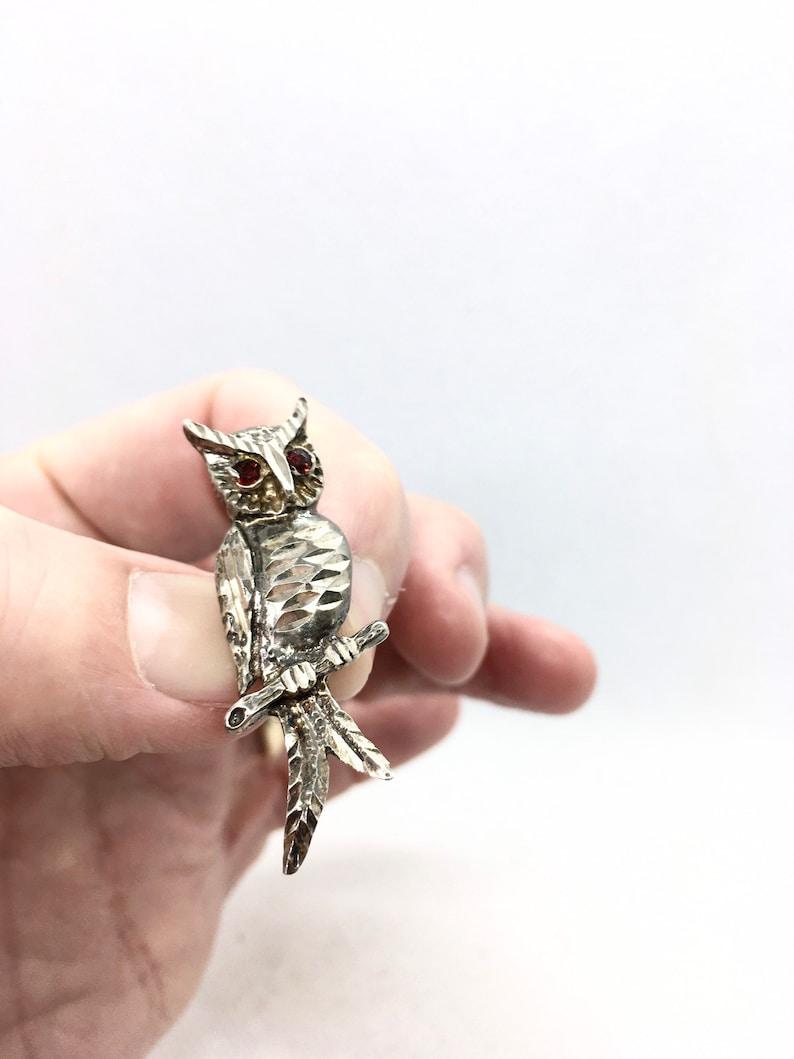 Vintage 1930s Art Deco Stamped Silver Owl Brooch
