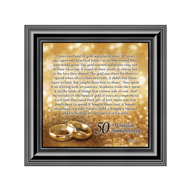 Bands Of Gold 50th Wedding Anniversary Gift Picture Frame Etsy