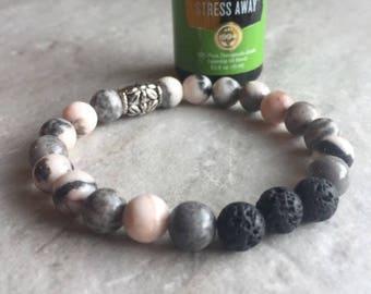 Lava beads, Pink Jasper Beads, Essential Oil Bracelet, Oil NOT included, Stretch bracelet, beaded bracelet, armcandy, bracelets